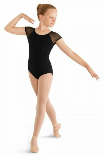 Mirella by Bloch Girls Classic Cap Sleeved Leotard with Mesh Sleeves M411C
